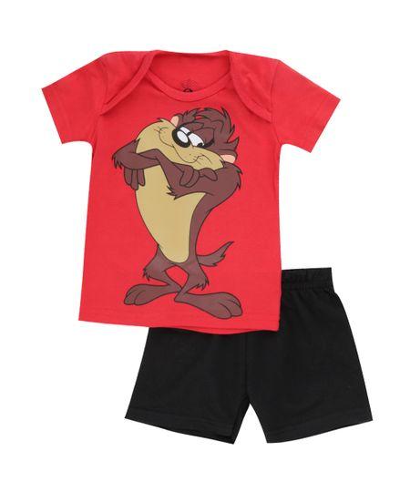 Conjunto Taz de Camiseta Vermelha + Bermuda Preta