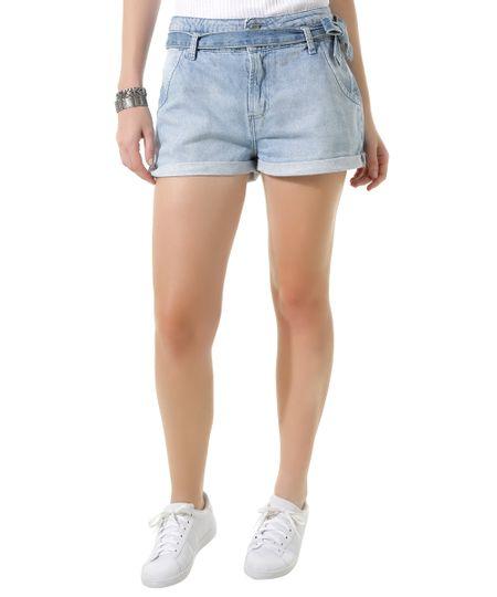 Short Jeans com Cinto Azul Claro