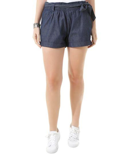 Short Jeans com Amarração Azul Escuro
