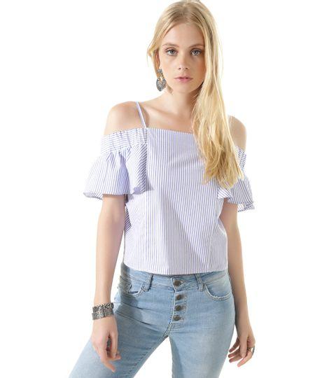 Blusa Open Shoulder Listrada Azul Claro