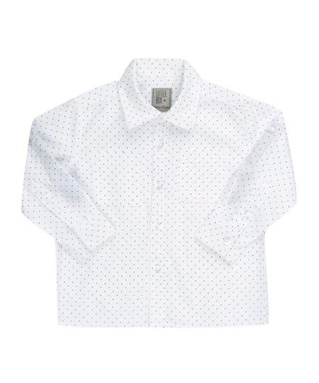 Camisa Estampada de Poá Branca