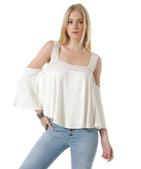 Blusa Open Shoulder com Renda Off White