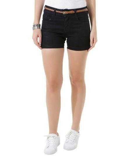 Short Jeans com Cinto Azul Escuro