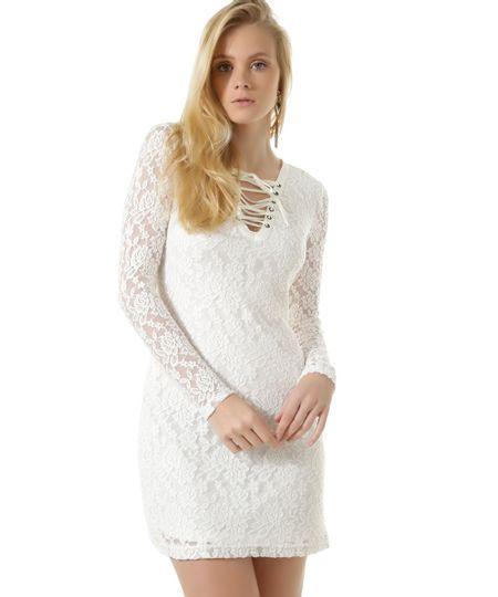 Vestido em Renda com Amarração Off White