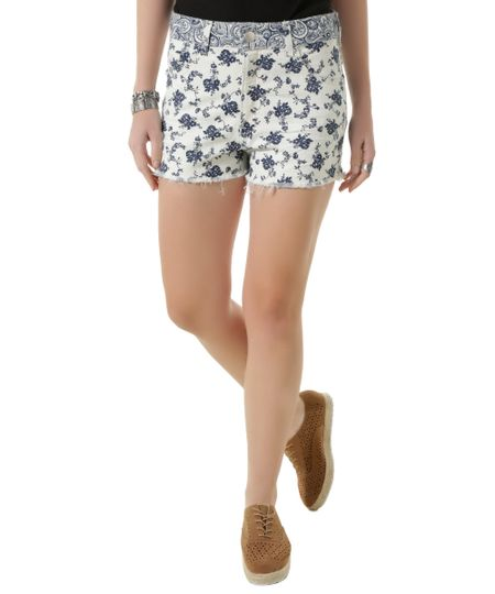 Short Estampado Floral Relaxed Off White