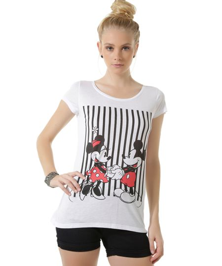 Blusa Mickey e Minnie Branca