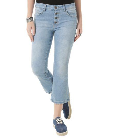 Calça Jeans Cropped Flare Azul Claro