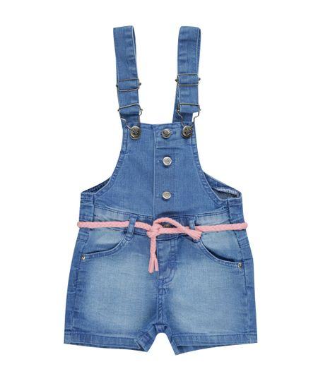 Jardineira Jeans com Cinto Azul Médio