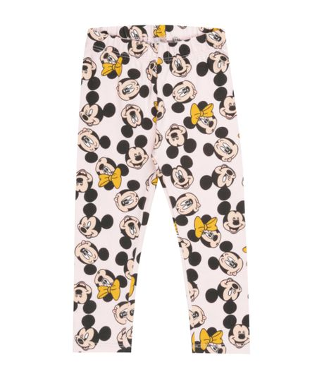 Calça Legging Estampada Mickey & Minnie Rosa Claro