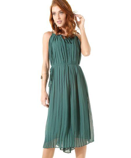 Vestido Midi Plissado Iódice Verde