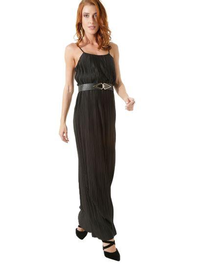 Vestido Longo Plissado Iódice Preto