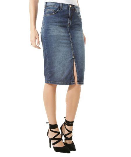 Saia Lápis Jeans Iódice Azul Médio