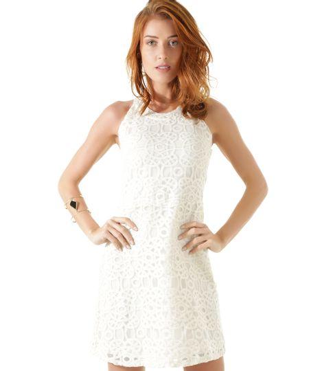Vestido em Renda com Brilho Iódice Off White