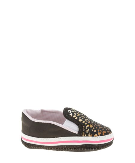 Tênis Slip On Pimpolho Animal Print Preto