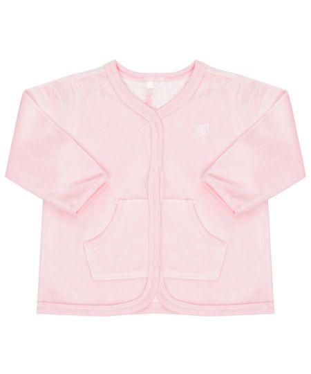 Cardigan em Plush de Algodão + Sustentável Rosa