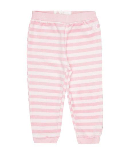 Calça Listrada em Plush de Algodão + Sustentável Rosa Claro