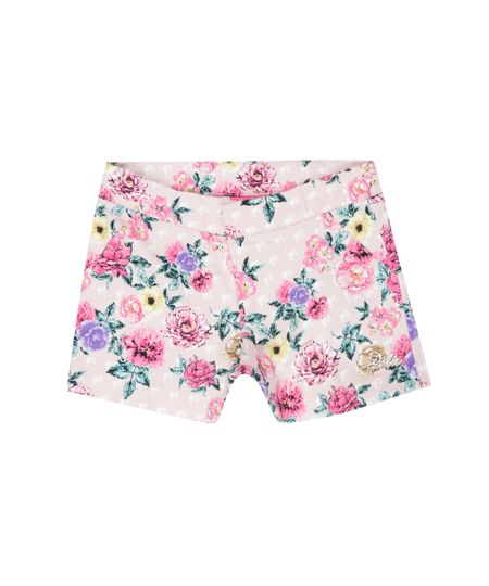 Short Estampado Floral Barbie Rosa