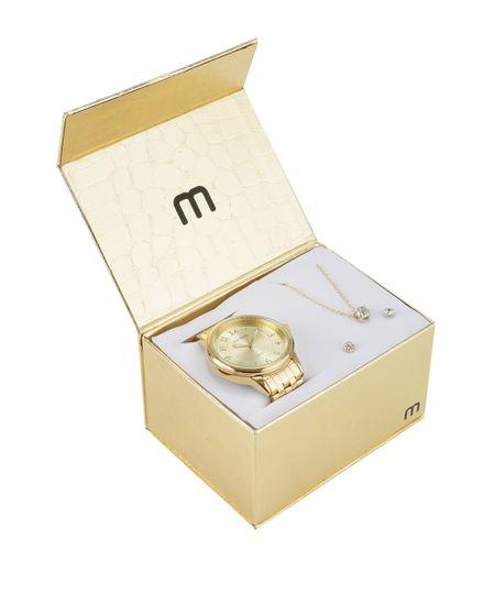 Kit de Relógio Mondaine Feminino Analógico + Colar + Brinco - 94942LPMKDE2K Dourado