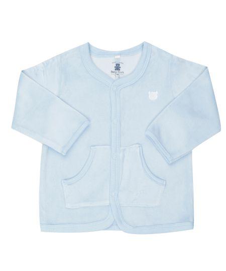 Cardigan em Plush de Algodão + Sustentável Azul Claro