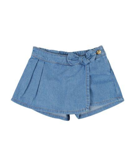 Short Saia Jeans com Laço Azul Médio