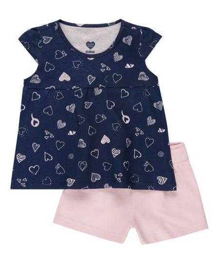 Conjunto de Blusa Azul Marinho + Short Rosa Claro