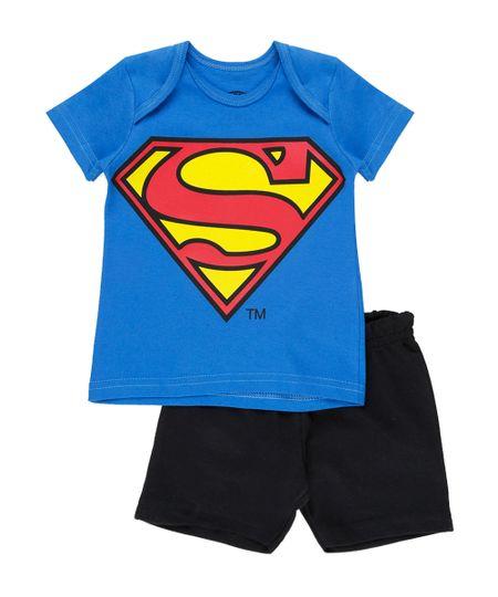Conjunto de Camiseta Azul + Bermuda Super Homem  Azul