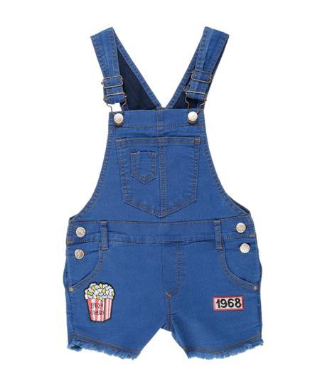 Jardineira Jeans com Patchs Azul Médio