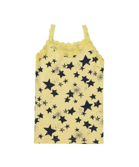 Regata Canelada Estampada de Estrelas Amarela