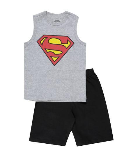 Conjunto de Regata Cinza Mescla + Bermuda Super Homem Preta