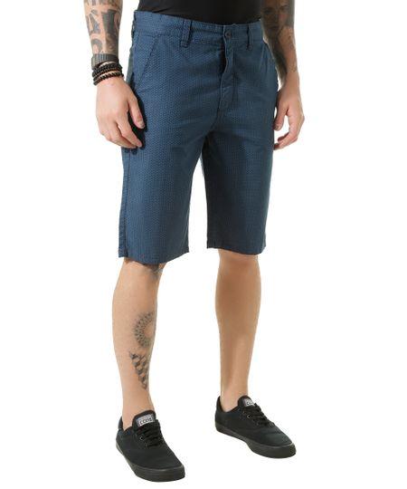 Bermuda Slim Estampada Azul Marinho