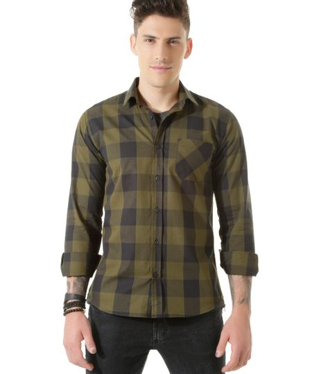 Camisa Xadrez Verde Militar