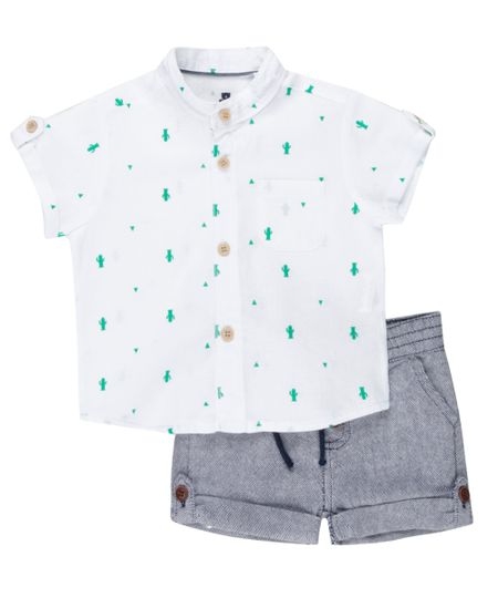 Conjunto de Camisa Estampada Off White + Bermuda Jeans Azul