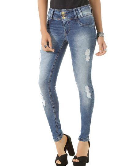 Calça Jeans Skinny Sawary Azul Médio