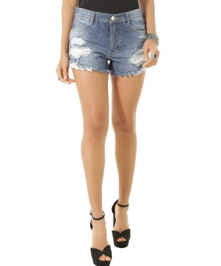 Short Jeans Relaxed Sawary Azul Escuro