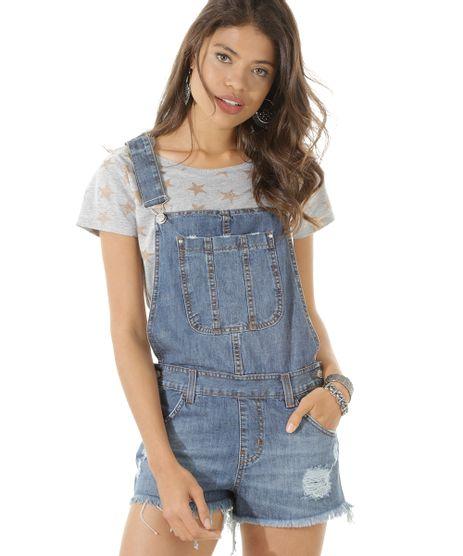 Macacao e macaquinho c a for Jardineira jeans feminina c a