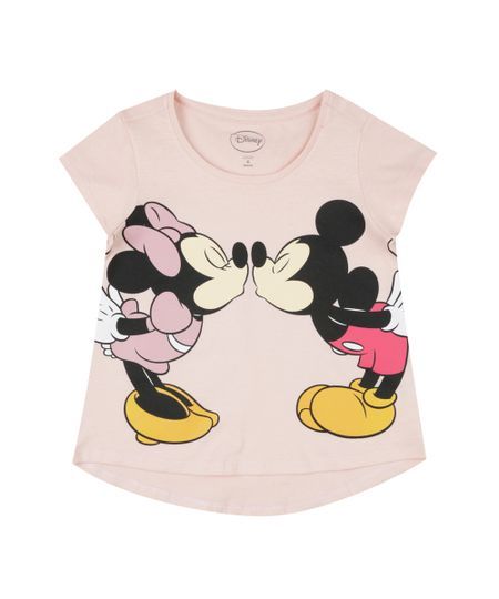 Blusa Mickey & Minnie Rosa Claro
