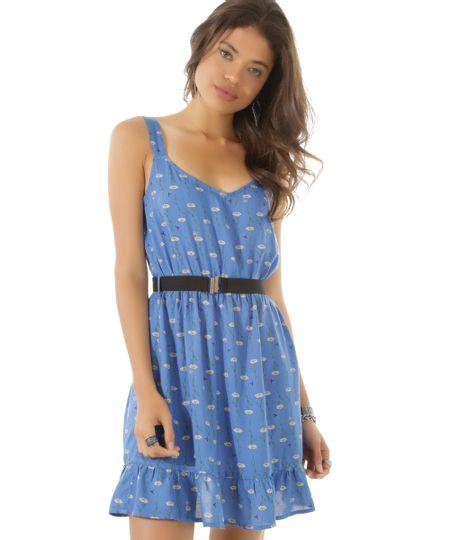 Vestido Estampado Floral com Cinto Azul