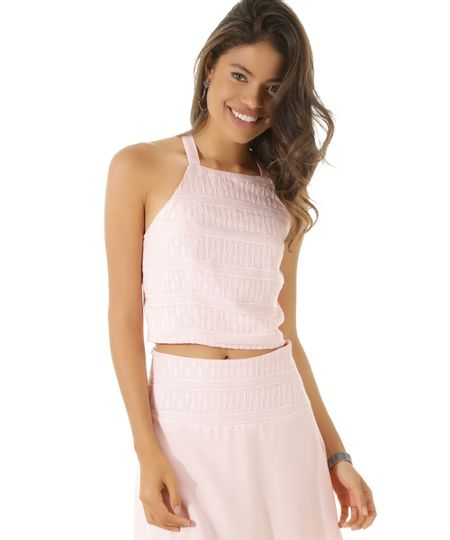 Regata Cropped com Bordado Rosa Claro