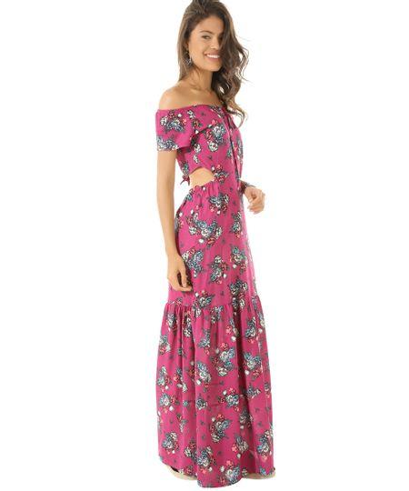 Vestido Longo Estampado Floral Rosa
