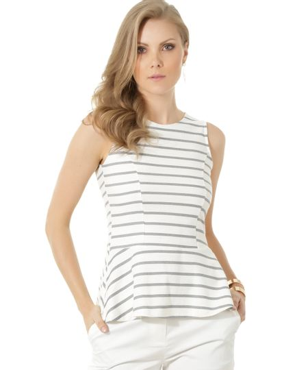 Regata Peplum Listrada Off White