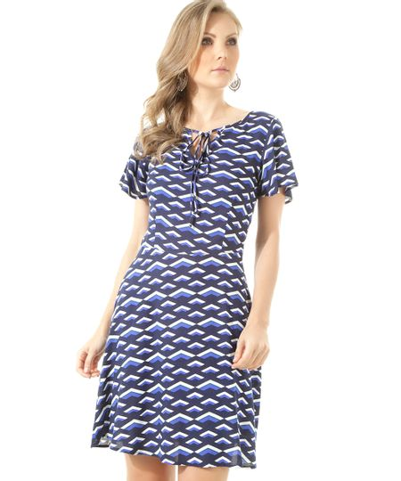 Vestido Estampado Geométrico Azul Marinho