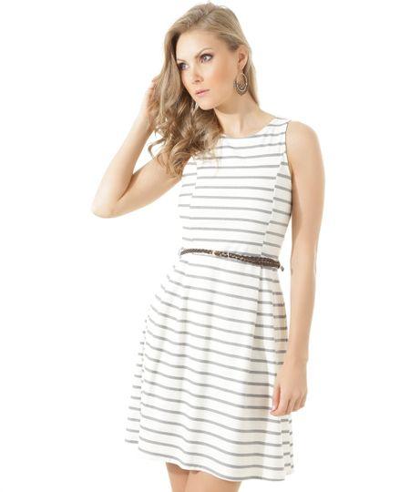Vestido Listrado com Cinto Off White