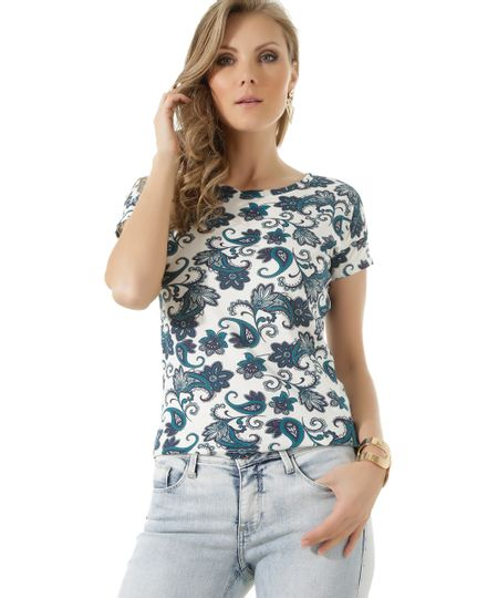 Blusa Estampada Paisley Off White