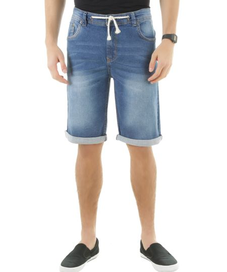 Bermuda Jeans Slim  Azul Médio