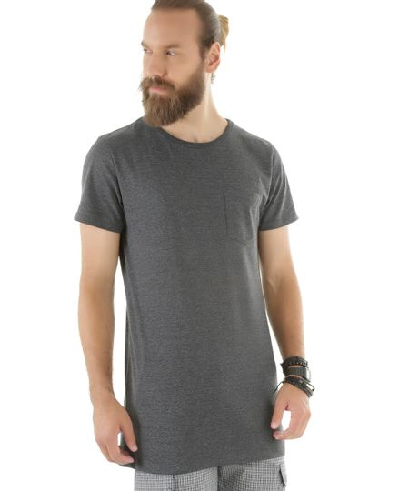 Camiseta Básica Longa Cinza Mescla