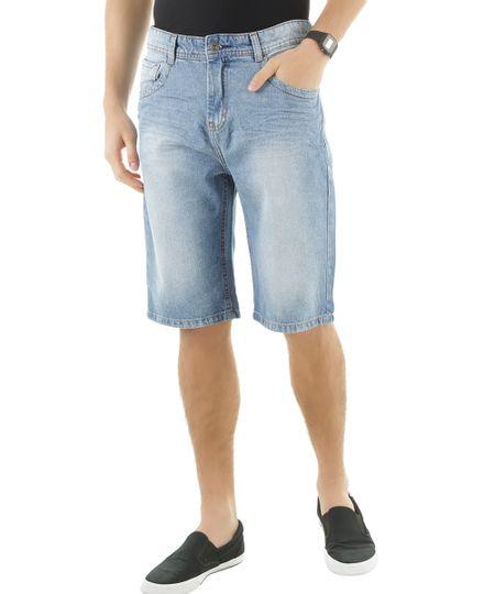 Bermuda Jeans Slim Azul Claro