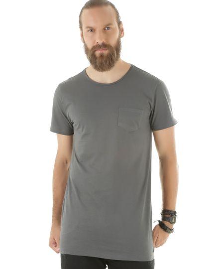 Camiseta Básica Longa Chumbo