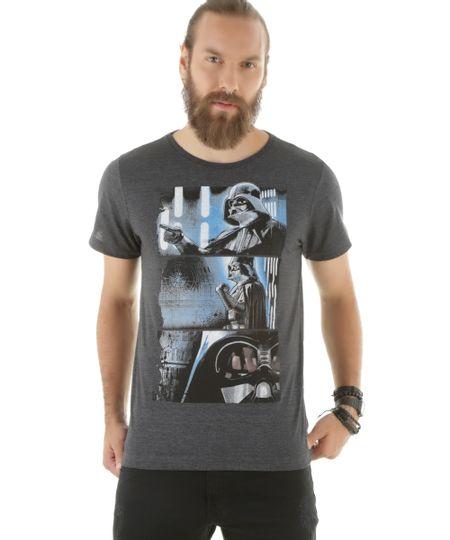 Camiseta Darth Vader Cinza Mescla Escuro