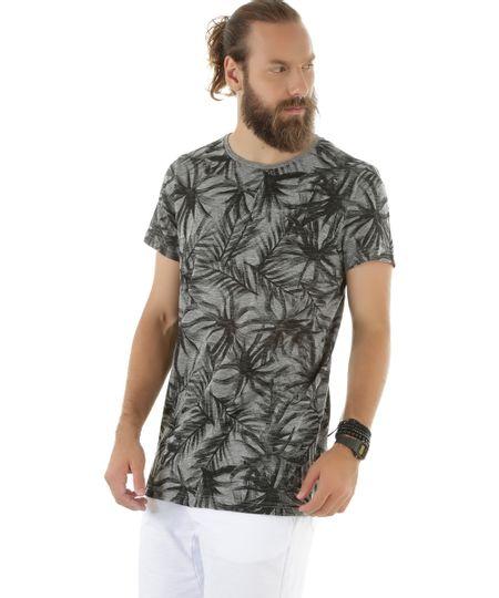 Camiseta Longa Estampada de Coqueiros Cinza Mescla