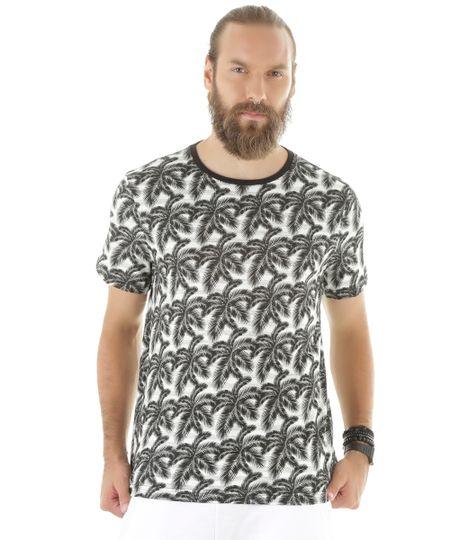 Camiseta Estampada de Coqueiros Off White